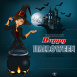 Halloween witch and the castle vector