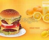 Hamburger orange drinks psd