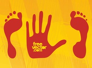 Hand and feet prints vector free