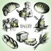Link toHand drawn bakery elements icons vector free