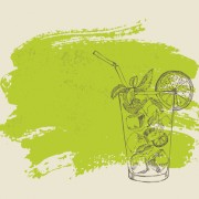 Link toHand drawn cocktail with grunge background 04 free