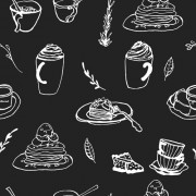 Link toHand drawn coffee and cake seamless pattern vector 01 free