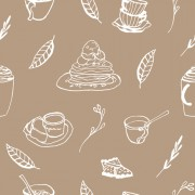 Link toHand drawn coffee and cake seamless pattern vector 02 free