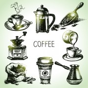 Link toHand drawn coffee elements vector icons free