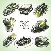 Link toHand drawn fast food design vector icons free
