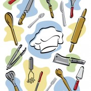 Link toHand drawn kitchen tools design vector free
