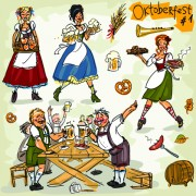 Link toHand drawn oktoberfest and people vector 01 free
