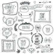 Link toHand drawn romantic frame with ornaments elements vector 01 free