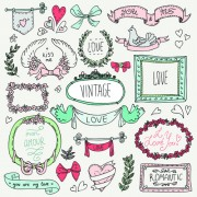 Link toHand drawn romantic frame with ornaments elements vector 03 free