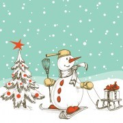 Link toHand-drawn snowman christmas background vector 04