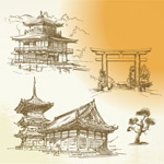 Link toHand-painted ancient architecture vector