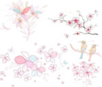 Link toHand-painted birds flowers vector