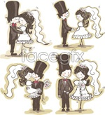 Link toHand-painted bride and groom vector