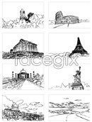 Link toHand-painted buildings vector