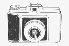 Hand-painted camera vector