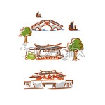 Link toHand-painted cartoon landscape vector