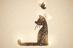 Link toHand-painted cat with butterfly vector