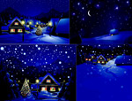 Link toHand-painted christmas village vector