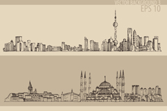 Link toHand-painted cityscapes banner vector
