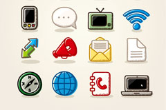 Link toHand-painted color communication icon vector