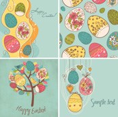 Link toHand-painted eggs easter card vector