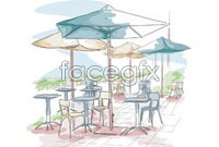 Link toHand-painted european-style cafe three vector