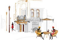 Link toHand-painted european-style cafe vector v