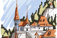 Link toHand-painted european urban landscape vector