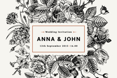 Link toHand-painted floral wedding invitation card vector