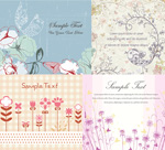 Link toHand-painted flower and bird pattern vector