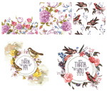Link toHand-painted flowers and birds vector