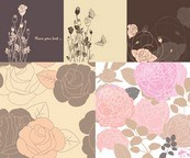 Link toHand-painted flowers backgrounds vector