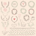 Link toHand-painted garlands and lace vector