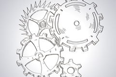 Hand-painted gear set design vector