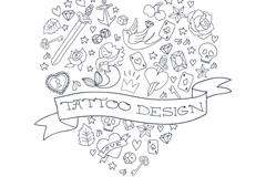 Link toHand-painted heart-shaped tattoo pattern vector