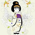 Link toHand-painted kimono woman vector