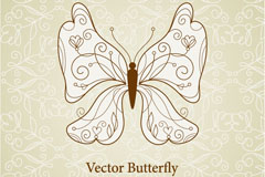 Link toHand-painted line butterfly vector