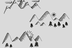 Link toHand-painted mountain landscape design vector