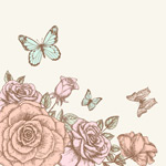 Link toHand-painted roses and butterflies vector