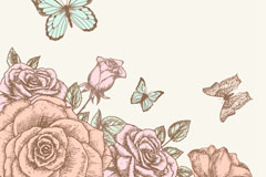 Link toHand-painted roses and butterfly design vector