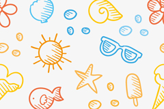 Link toHand-painted summer elements seamless vector background illustration