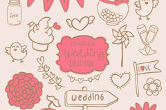 Link toHand-painted wedding decorative elements vector