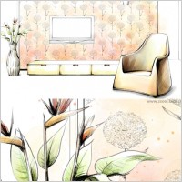 Link toHanddrawn style interior decoration psd layered images 12