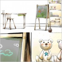 Link toHanddrawn style interior decoration psd layered images 29