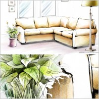 Link toHanddrawn style interior decoration psd layered images 3