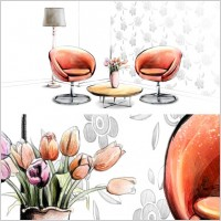 Link toHanddrawn style interior decoration psd layered images 4