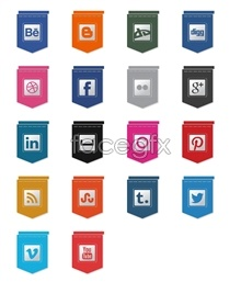 Link toHanging flags design social media icons