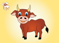 Happy cartoon bull vector free