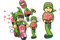 Link tovector staff shop flower cartoon Happy