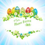 Link toHappy easter flower frame background vector 04 free
